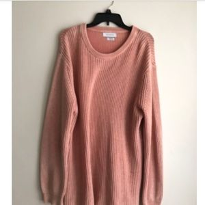 oversized pink knit sweater